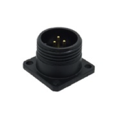 CEEP 920213U000P020, 13U, 3 pin male panel connector, without locking ring, solder contacts 3 x 10A, IP67, black non-conductive finish.
