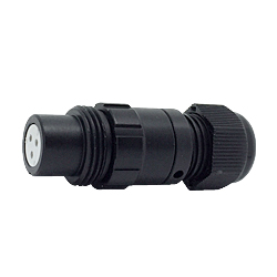 CEEP 920113U000SD20, 13U, 3 pin female inline connector, without locking ring, solder contacts 3 x 10A, IP67, black non-conductive finish.