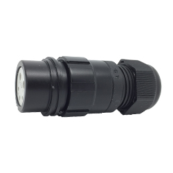 CEEP 920125D000SA20, 25D, 5 pin female inline connector, without locking ring, solder contacts 2 x 25A & 3 x 10A, IP67, black non-conductive finish.