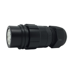 CEEP 920127X000SA20, 27X, 7 pin female inline connector, without locking ring, solder contacts 5 x 10A and 2 x 25A, IP67, black non-conductive finish.