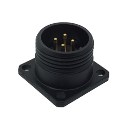 CEEP 920214V000P02, 14V, 4 pin male panel connector, without locking ring, solder contacts 4 x 10A, IP67, black non-conductive finish.