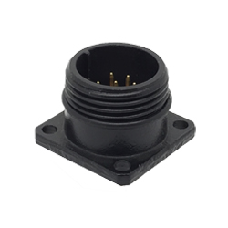 CEEP 920217P000P020, 17P, 7 pin male panel connector, without locking ring, solder contacts 7 x 7.5A, IP67, black non-conductive finish.