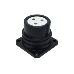 CEEP 920223C000S020, 23C, 3 pin female panel connector, without locking ring, solder contacts 3 x 25A, IP67, black non-conductive finish.