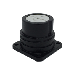CEEP 920225S000S020, 25D, 5 pin female panel connector, without locking ring, solder contacts 5 x 10A, IP67, black non-conductive finish.