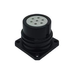 CEEP 920227E000S020, 27E, 7 pin male panel connector, without locking ring, solder contacts 7 x 10A, IP67, black non-conductive finish.