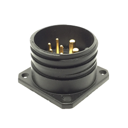 CEEP 920227X000P020, 27X, 7 pin male panel connector, without locking ring, solder contacts 5 x 10A and 2 x 25A, IP67, black non-conductive finish.