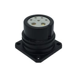 CEEP 920227X000S020, 27X, 7 pin male panel connector, without locking ring, solder contacts 5 x 10A and 2 x 25A, IP67, black non-conductive finish.