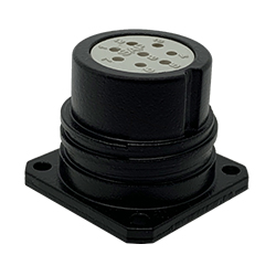 CEEP 920228T000S020, 28T, 8 pin female panel connector, without locking ring, crimp contacts 8 x 10A, IP67, black non-conductive finish.