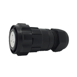 CEEP 920623AL00SA20, 23AL, 3 pin female inline connector, with locking ring, solder contacts 3 x 10A, IP67, black non-conductive finish.