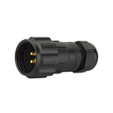 CEEP 920623C000PA2, 23C, 3 pin male inline connector, with locking ring, solder contacts 3 x 25A, IP67, black non-conductive finish.