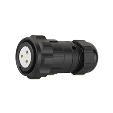 CEEP 920623C000SA20, 23C, 3 pin female inline connector, with locking ring, solder contacts 3 x 25A, IP67, black non-conductive finish.