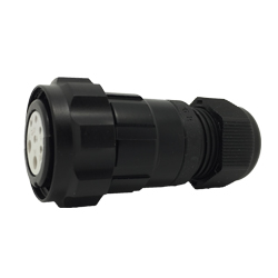 CEEP 920627X000SA20, 27X, 7 pin female inline connector, with locking ring, solder contacts 5 x 10A and 2 x 25A, IP67, black non-conductive finish.