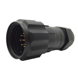 CEEP 920629AE00PB2, 29AE, 9 pin male inline connector, with locking ring, solder contacts 9 x 10A, IP67, black non-conductive finish.