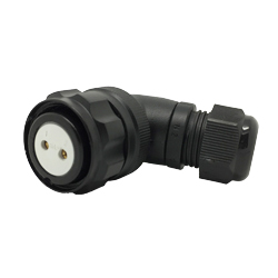 920822B000SA20, CEEP, 22B, 2 pin female right angle, with locking ring. 6-12mm cable gland, 2 x 25A solder contacts, IP67, black non conductive finish.
