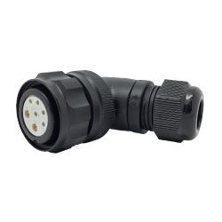 CEEP 920827X000SA20, 27X, 7 pin female right angle connector, with locking ring, solder contacts 5 x 10A and 2 x 25A, IP67, black non-conductive finish.