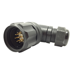 CEEP 920829AE00PA20, 29AE, 9 pin male right angle connector, with locking ring, solder contacts 9 x 10A, IP67, black non-conductive finish.