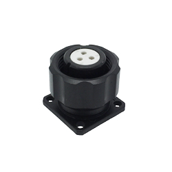 CEEP 920913U000S020, 13U, 3 pin female panel connector, with locking ring, solder contacts 3 x 10A, IP67, black non-conductive finish.
