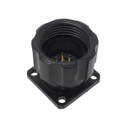 CEEP 920917P000P02, 17P, 7 pin male panel connector, with locking ring, solder contacts 7 x 7.5A, IP67, black non-conductive finish.