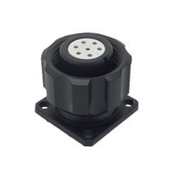 CEEP 920917P000S020, 17P, 7 pin female panel connector, with locking ring, solder contacts 7 x 7.5A, IP67, black non-conductive finish.