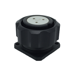 CEEP 920923AL00S020, 23AL, 3 pin female panel connector, with locking ring, solder contacts 3 x 10A, IP67, black non-conductive finish.