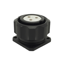 CEEP 920923C000S020, 23C, 3 pin female panel connector, with locking ring, solder contacts 3 x 25A, IP67, black non-conductive finish.