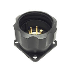 CEEP 920925D000P020, 25D, 5 pin male panel connector, with locking ring, solder contacts 2 x 25A & 3 x 10A, IP67, black non-conductive finish.