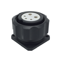 CEEP 920925D000S020, 25D, 5 pin female panel connector, with locking ring, solder contacts 2 x 25A & 3 x 10A, IP67, black non-conductive finish.