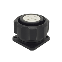 CEEP 920925S000S020, 25D, 5 pin female panel connector, with locking ring, solder contacts 5 x 10A, IP67, black non-conductive finish.