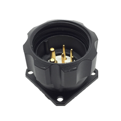 CEEP 920927X000P02, 27X, 7 pin male panel connector, with locking ring, solder contacts 5 x 10A and 2 x 25A, IP67, black non-conductive finish.