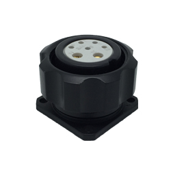 CEEP 920927X000S020, 27X, 7 pin female panel connector, with locking ring, solder contacts 5 x 10A and 2 x 25A, IP67, black non-conductive finish.