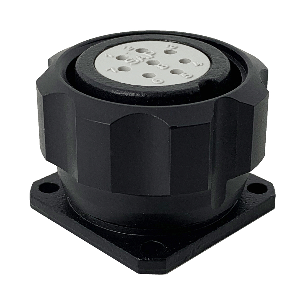 CEEP 920928T000S020, 28T, 8 pin female panel connector, with locking ring, crimp contacts 8 x 10A, IP67, black non-conductive finish.