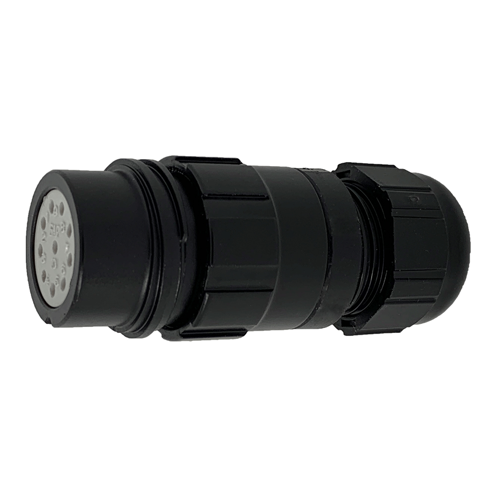 CEEP 9201210AO0SA20, 210AO, 10 pin female inline connector, without locking ring, solder contacts 10 x 10A, IP67, black non-conductive finish.