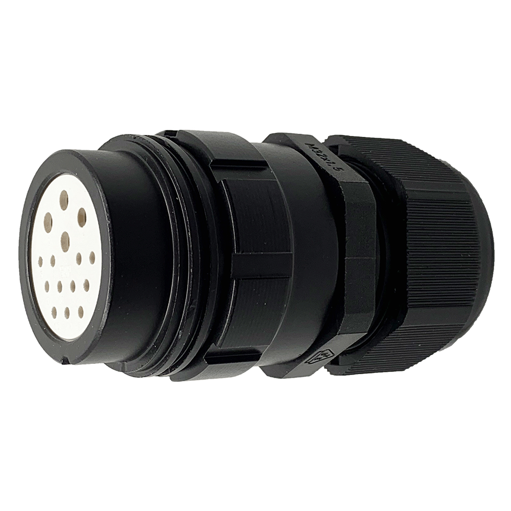 CEEP 9201315K00SJ20, 315K, 15 pin female inline connector, without locking ring, 4 x 25A & 11 x 10A Solder Contacts, black non conductive finish.