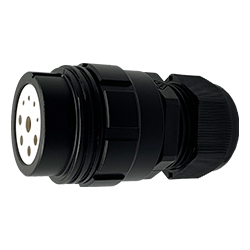 CEEP 920139J000SF20, 39J, 9 pin female inline connector, without locking ring, solder contacts 4 x 10A, 4 x 25A, & 1 x 10A, IP67, black non-conductive finish.