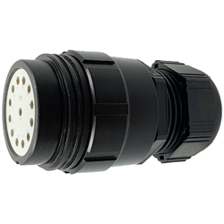 CEEP 9201413AB0PE2, 413AB, 13 pin male inline connector, without locking ring, solder contacts 13 x 25A, IP67, black non conductive finish.