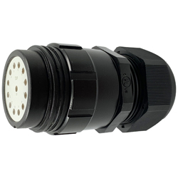 CEEP 9201413AB0SL2, 413AB, 13 pin male inline connector, without locking ring, solder contacts 13 x 25A, IP67, black non conductive finish.