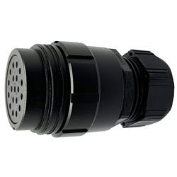 CEEP 9201419AR0SE20, 419AR, 19 pin female inline connector, without locking ring, 19 x 25A Solder Contacts, IP67, black non conductive finish.