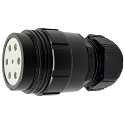 CEEP 920147M000SE20, 47M, 7 pin male inline connector, without locking ring, solder contacts 1 x 25A, 6 x 50A, IP67, black non conductive finish.