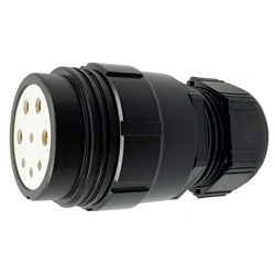 CEEP 920148M000SE20, 48M, 8 pin female inline connector, without locking ring, solder contacts 4 x 25A, 4 x 50A, IP67, black non conductive finish.