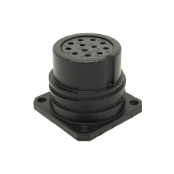 CEEP 9202212AF0S020, 212AF, 12 pin female panel connector, without locking ring, 12 x 10A Solder Contacts, IP67, black non conductive finish.
