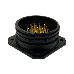 CEEP 9202319L00P020, 319L, 19 pin male panel connector, without locking ring, 19 x 10A Solder Contacts, IP67, black non conductive finish.