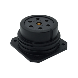 CEEP 920237Y000S02, 37Y, 7 pin female panel connector, without locking ring, solder contacts 6 x 25A, 1 x 50A, IP67, black non conductive finish.