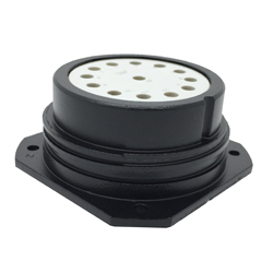 CEEP 9202413AB0S02, 413AB, 13 pin female panel connector, without locking ring, solder contacts 13 x 25A, IP67, black non conductive finish.