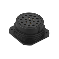 CEEP 9202419E00S020, 419AR, 19 pin female panel connector, without locking ring, 19 x 25A Solder Contacts, IP67, black non conductive finish.