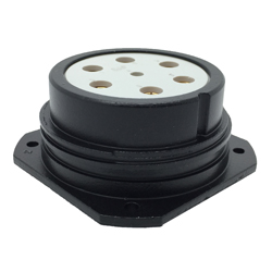CEEP 920247M000S020, 47M, 7 pin female panel connector, without locking ring, solder contacts 1 x 25A, 6 x 50A, IP67, black non conductive finish.