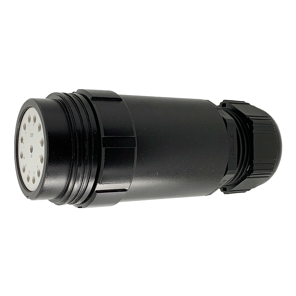 CEEP 9203413AB0SE20, 413AB, 13 pin female extended inline connector, without locking ring, solder contacts 13 x 25A, IP67, black non conductive finish.
