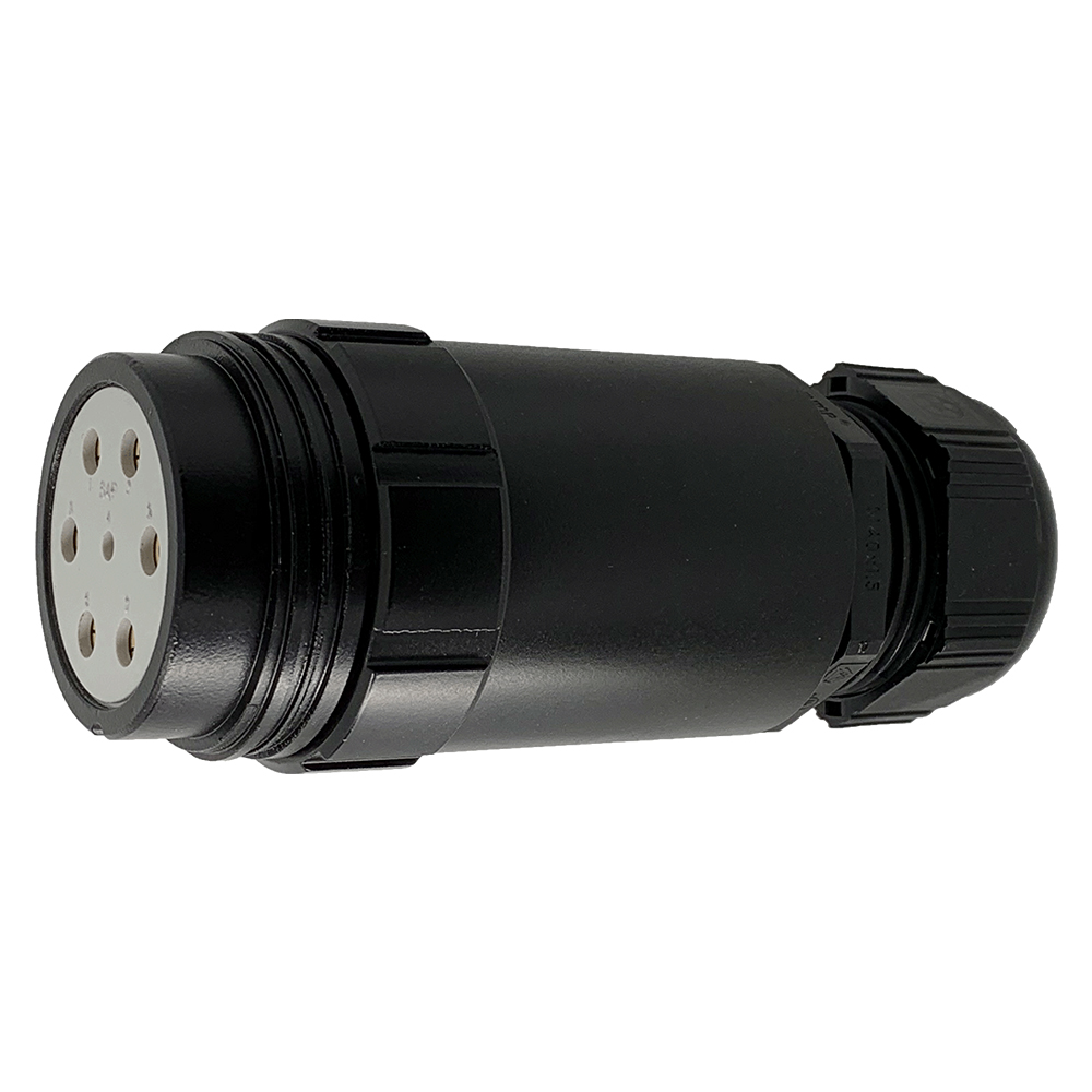 CEEP 920347M000SE20, 47M, 7 pin female inline connector, without locking ring, solder contacts 1 x 25A, 6 x 50A, IP67, black non conductive finish.