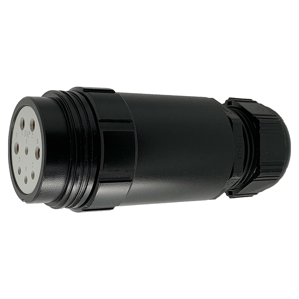 CEEP 920348M000SE20, 48M, 8 pin female extended inline connector, without locking ring, solder contacts 4 x 25A, 4 x 50A, IP67, black non conductive finish.