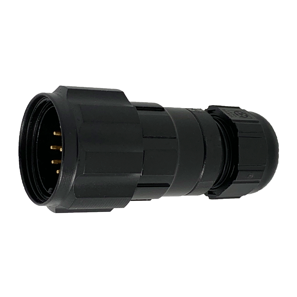 CEEP 9208210AO0PB20, 210AO, 10 pin male inline connector, with locking ring, solder contacts 10 x 10A, IP67, black non-conductive finish.