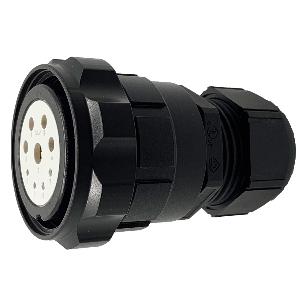 CEEP 920639J000SG20, 39J, 9 pin female inline connector, with locking ring, solder contacts 4 x 10A, 4 x 25A, & 1 x 10A, IP67, black non-conductive finish.